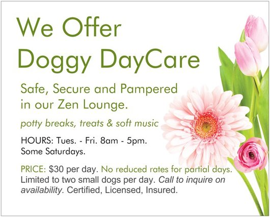 Doggy Daycare in the Zen Lounge. Hours: Tues, - Fri. - 8am - 5pm.. Some Saturdays.Price: $30 per day. No reduced rates for partial days. Limited to two to three small dogs per day. Call to inquire on availability. Certified, Licensed, Insured.